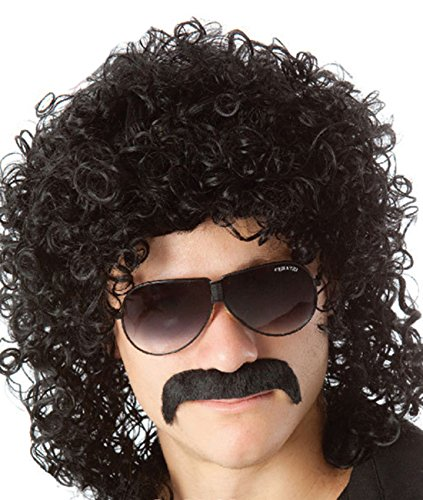 Perücke für Herren, 70er-/80er-Jahre-Look, für Party, Halloween, schwarze Locken, Rockstar-Perücke, Vokuhila