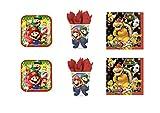 Super Mario Bros y Luigi - Para fiesta –Kit N°3cdc- (24platos, 24vasos, 40servilletas)