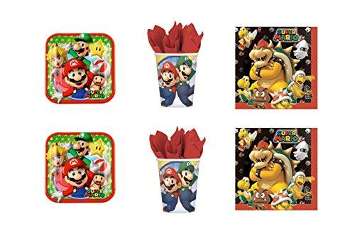 Super Mario Bros Luigi et fête – Kit N ° 5 CDC- (40 assiettes, verres, 40 serviettes)