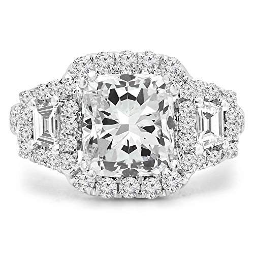 3 2/3 CTW Cushion Diamond Vintage Heart Detail Cushion Halo Three-stone Engagement Ring in 18K White Gold (MD200155)
