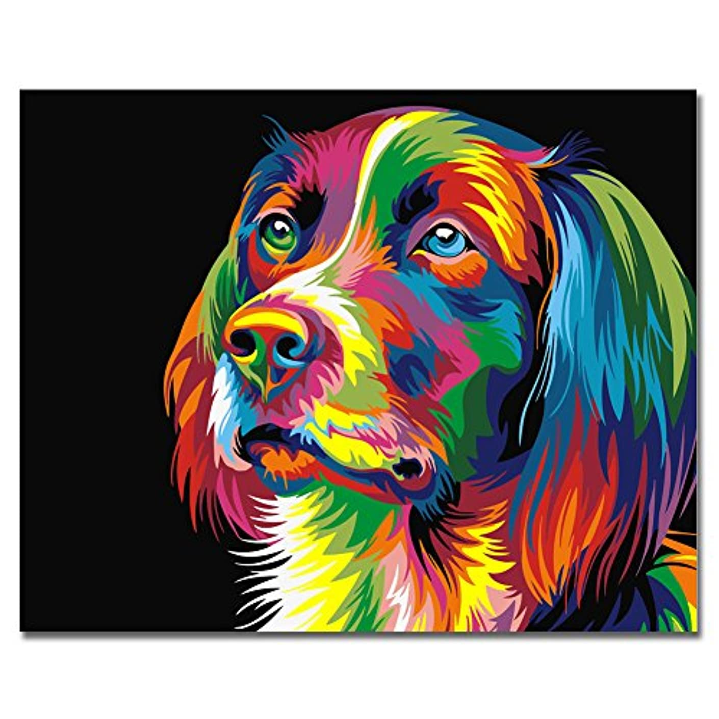 BOSHUN Paint by Numbers Kits with Brushes and Acrylic Pigment DIY Canvas Painting for Adults Beginner- Colorful Dog 16 x 20 inch(Without Frame)