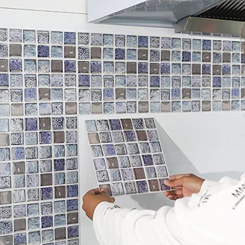 HXSTWW 10-50 Hojas Estilo de Mosaico Pegatinas de Pared Azulejos para la Cocina Baño, Anti-Aceite Impermeable 7.9 x 7,9 Pulgadas, pelada y bastón de Fondo de Pantalla (Size : 50Pcs)