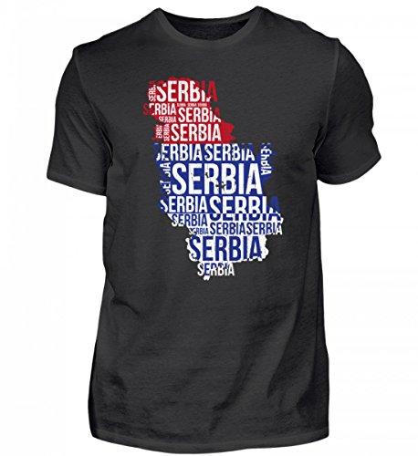 Hochwertiges Herren Shirt - Serbien Srbija Nationalmannschaft Fussball Soccer Flagge Serbisches Trikot Geschenk