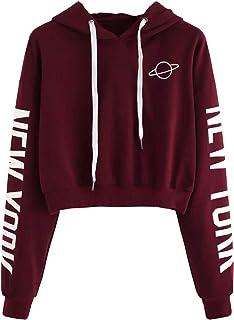 27439f9c4d Sweatshirt Ado Fille, Sweat Court Femme Capuche Imprimé Lettre Étoile  Automne Sport Pull à La