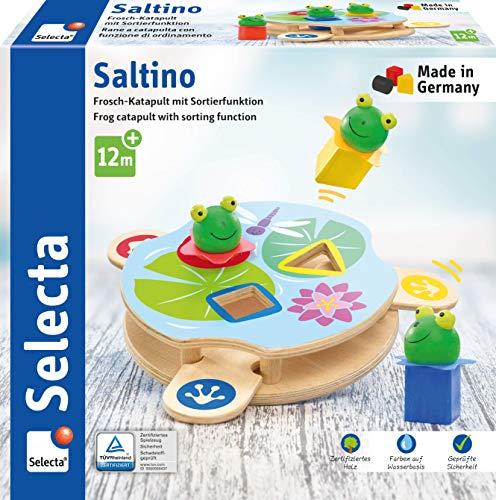 Selecta 62072 Saltino, Frosch-Katapult, Motorikspielzeug aus Holz