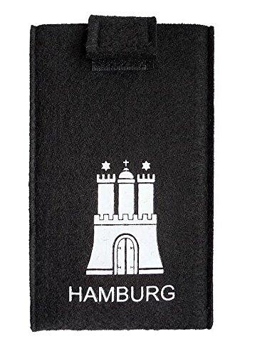 City Souvenir Shop Handy-Tasche Hamburg aus Filz, schwarz