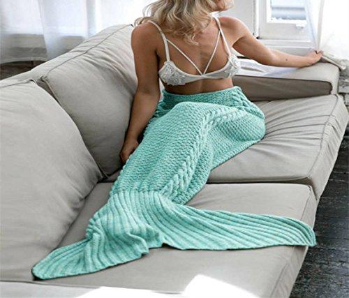 Moens Stricken Muster Meerjungfrau Schwanz Blanket, weich und warm Meerjungfrau Schwänze Schlafsack Klimaanlage Decke Schlummer Tasche Niedlich Meerjungfrau-Geschenk (Minze Grün-Erwachsener