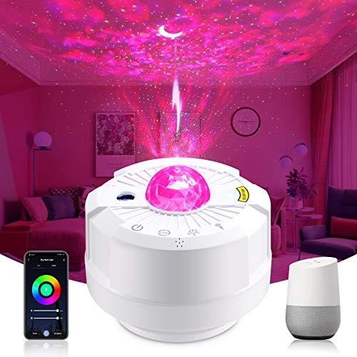 Wifi Smart LED Sternenhimmel Projektor, OPPEARL Sternenlicht Projektor Baby Nachtlichter mit Alexa Google, Projektionslampe APP Dimmbar, 26 Farbeffekte, Timer, Für Party, Kinder, Wohnzimmer