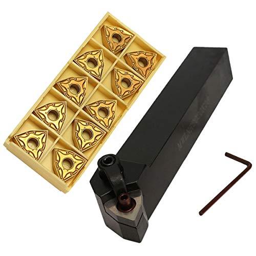 bobotron Juego de soporte de herramientas giratorias, 20 mm, MWLNR2020K08 + 10 insertos de metal duro WNMG0804