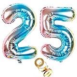 Globos de aire de 40 pulgadas con número 25 en arco iris para niñas, decoración de cumpleaños, número 25, globos de helio, número XXL, 100 cm, decoración para bodas, cumpleaños