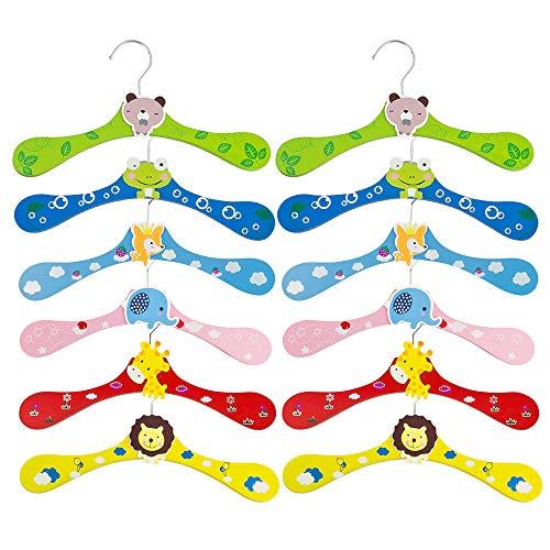 Select Zone - Juego de 12 perchas infantiles de madera multicolor para ropa de bebé