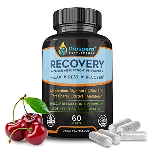 Muscle Recovery Magnesium Glycinate Supplement - Made for Crossfit by Prospera - Boosts Workout, Aids Recovery during Sleep - B6 and Zinc for Exercise, Tart Cherry and Melatonin as Sleep Aid - 60 Caps