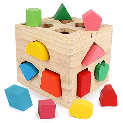 BeebeeRun Wood Shape Sorter Cube Toys with 13 Colorful Wooden Geometric Shape Blocks and Sorting Box,Learning Matching Game for Toddlers,Preschool Educational Learning Toy for Kids