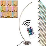 Lampadaire Scar RGB en métal, nickel mat, luminaire arqué LED pour salon, bureau, chambre - Variation d'intensité et de couleur grace à la télécommande incluse.