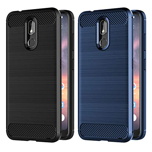 VGUARD [Pack de 2] Coque pour Nokia 3.2, Silicone en Gel Souple Housse Etui Fibre de Carbone Coque de Protection pour Nokia 3.2 - (Noir +Bleu)