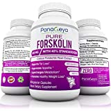 Pure Forskolin Extract 300mg with 40% Standardized High Strength Carb Blocker Natural Weight Loss Supplement Powerful Appetite Suppressant Belly Fat Burner Easy Swallow GMO Free 60 Veggie Pills
