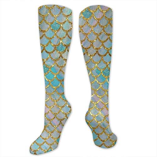 Calcetines para mujeres y hombres y niñas, ideal para medicamentos, enfermería, senderismo, viajes calcetines de vuelo para correr (encantadora báscula de sirena pastel)