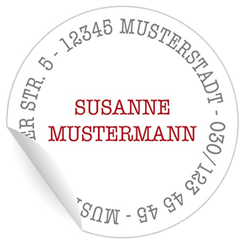 24 personalisierbare, runde Adressaufkleber, MATTE universal Papieraufkleber | Custom Sticker mit ihrer Adresse und Farbe nach Wunsch (Aufkleber ø 45mm