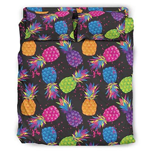 Juego de cama de 4 piezas con diseño de piña con cremallera, incluye 1 funda nórdica y 1 funda de almohada de 228 x 228 cm