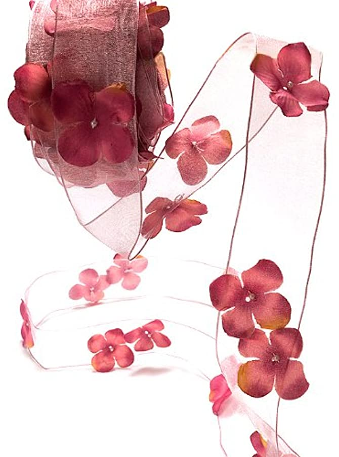 May Arts 1-1/2-Inch Wide Ribbon, Mauve Sheer Flowers