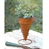 CTW 580036 Ice Cream Cone Planter, 10-inch Height, Brown, Metal