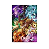 FINDEMO Pokemon Eevee Evolution Art Poster Wall Art Home Wall Decorations for Bedroom Living Room Oil Paintings Canvas Prints Unframe-style1-24x36inch(60x90cm)