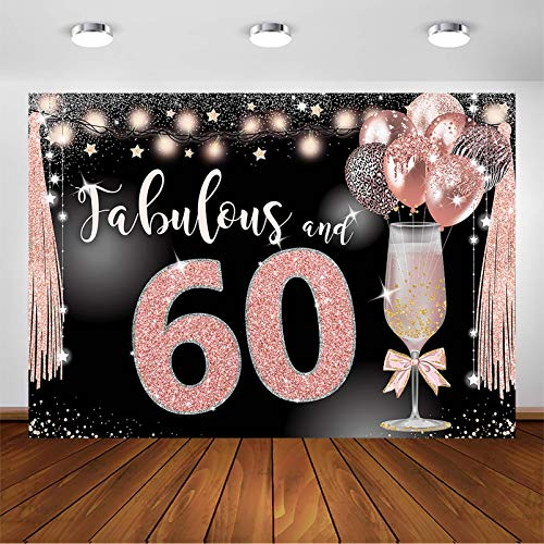 Avezano Rose Gold Birthday Backdrop for Fabulous 30 40 50 60 Birthday Party Balloons Champagne Sparkle Glitter Adult Women Bday Decorations Photoshoot Photo Booth Background (7x5ft, 60th)