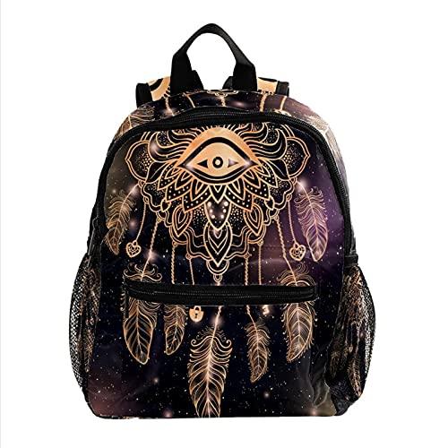 Kids BackpackTravel Backpack for 3-8 Years Kids Traumfänger mit magischem Auge und Federn 25.4x10x30cm