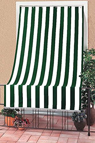Tenda da Sole con Kit Ganci e Anelli in Tessuto Resistente da Esterno o Balcone Lavabile Colore Verde e Bianco 145x250 cm 100% Poliestere