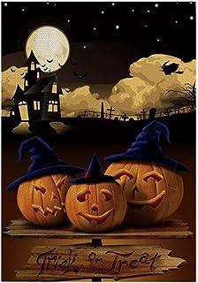 ASKLKD Happy Halloween Garden Drapeau, Impression à Double Face Bienvenue Bienvenue Decoration en Plein air Bannière à Law...