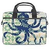 Octopus mit Blättern, Laptoptasche, Messenger-Tasche, schlanke Aktentasche mit Crossbody Umhängetasche, Computertasche, Computer- & Tablet-Tragetasche für 34,4–36,7 cm