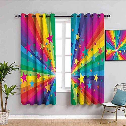 XLDYSC Kitchen Blackout Curtains Printed Curtains Thermal Insulated - Color Rainbow Stars Fashion - Eyelet Window Treatment For Bedroom Nursery 336X229Cm