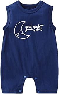Mornyray Unisex Toddlers Sleeveless Cotton Romper With Adorable Cartoon Printing Babygirl Babyboy Onesie Romper One-Piece Kids Casual Playwear Daily Outfit Fashion Solid Color Romper For Babys (0-24M)