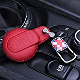 LAMWAN Autoschlüssel Abdeckung Für Leder autoschlüssel case Abdeckung Shell fob case für BMW Mini Cooper Countryman f60 Clubman f54 f56 f57 jcw zubehör, rote Fahne Kette