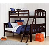 Dorel Living Airlie Solid Wood Bunk Beds Twin Over Full with Ladder and Guard Rail, Espresso