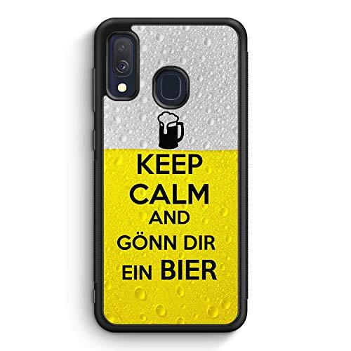 Keep Calm and Gönn Dir EIN Bier - Silikon Hülle für Samsung Galaxy A40 - Motiv Design Spruch Cool Lustig Jungs Männer Herren Witzig - Cover Handyhülle Schutzhülle Hülle Schale