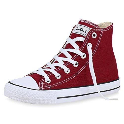 SCARPE VITA Damen High Top Sneakers Sportschuhe Stoffschuhe Kult 167616 Dunkelrot 43