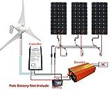 ECO-WORTHY 800W Panel Solar y de viento turbina 12recargable Kits de carga: 400W viento generador + 3pcs 150W paneles solares + 1000W Off inversor de cuadrícula en casa familia