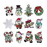 STOBOK 12 piezas etiqueta de la pared de navidad etiqueta engomada de la ventana del patrón de santa snoman vinilos autoadhesivos diy para la decoración de la pared de la fiesta navideña