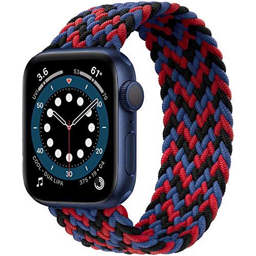 JONWIN Solo Loop trenzado, compatible con Apple Watch, 38 mm y 40 mm, fibras de silicona trenzadas, correa de repuesto deportiva para iWatch Serie 6/5/4/3/2/1,SE, mujer, hombre, color 1#