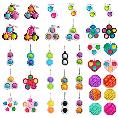 WUSSCO 2021 Mini Simple Dimple Sensory Fidget Toy Stress Relief Anti-Anxiety Autism Hand Toys for Kids Teen Adult, Push Pop Bubble Keychain Sensory Therapy Toys for Home Office School