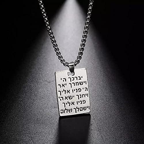 Chenfeng Collar de Hombre Collar con Mensaje étnico Grabado con Letras hebreas para Hombres y Mujeres Caja de Regalo con Colgante de joyería Regalo para Esposo Padre Novio Regalo de cumpleaños