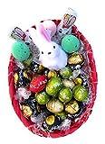 Lindt Pasqua Cesto Lindor - 2 Conigli Klett (2x15g) 30g + Lindt 20 Ovetti Sfusi Assortiti Lindor + 6 Praline Lindor 70% Cacao + Mini Coniglietto Bianco
