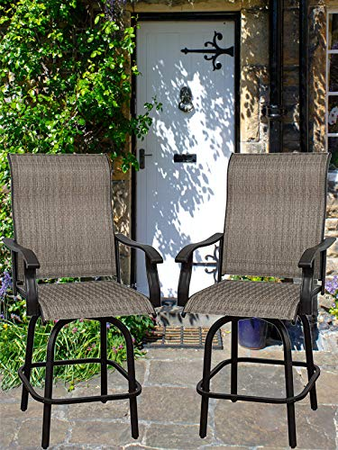 Will-Mall Patio Furniture Swivel Bar Chairs Set of 2, Outdoor High Bistro Stools, Textilene Fabric Bar Height Patio Chairs, for Lawn, Backyard and Garden (2 Bar Chairs)