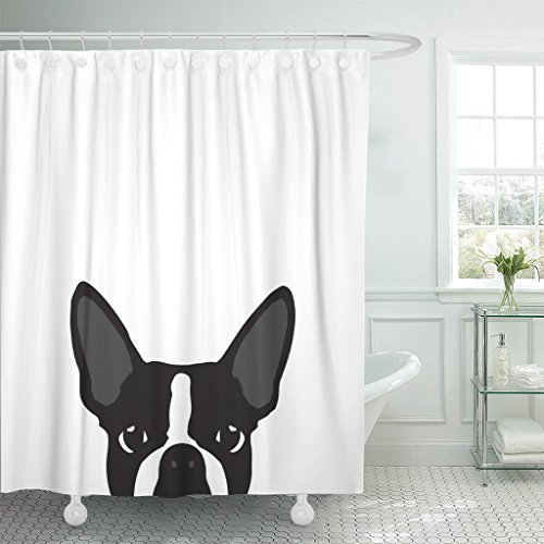 TOMPOP Shower Curtain Black Pop Terrier Silhouette White Colorful Bulldog Dog Waterproof Polyester Fabric 72 x 72 inches Set with Hooks