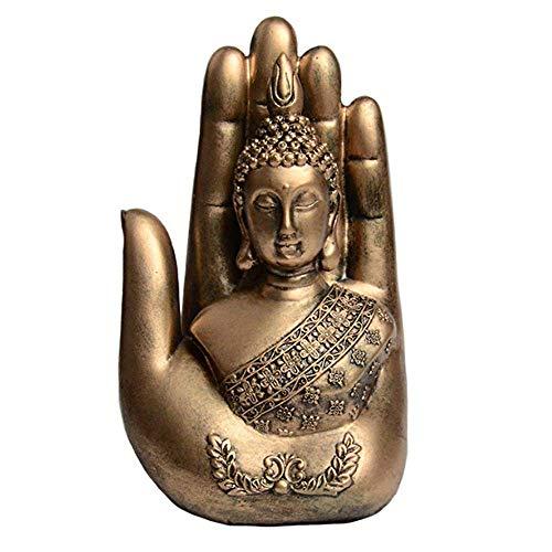 EBISSY Buddha on Palm Statue [ Home Decor Resin Bronze Mini Buddhist Altar ] Portable Temple (Gold)