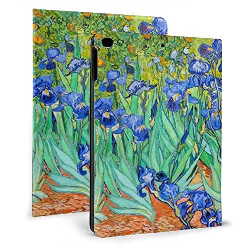 Van Gogh Irises - Funda de piel sintética con tapa para iPad Mini4/5 de 7,9 pulgadas, soporte giratorio y magnético inteligente para despertar/dormir