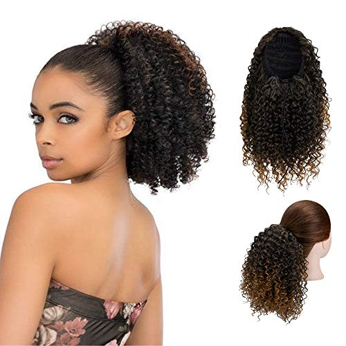 SLTY Short Afro Drawstring Ponytail Kinky Curly Ponytail Drawstring Afro Puffs Curly Ponytail Extension Synthetic Hairpieces for Black Women