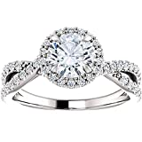 1 Ct Halo Intertwined EX3 Lab Grown DIamond Engagement Ring 14k White Gold - Size 6.5