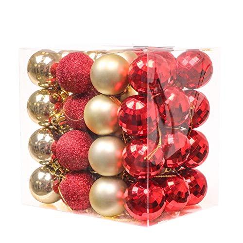 Kaishuai 48 PCS Bolas Navidad,Árbol de Navidad Adorno,4cm Colgante de árbol de navidad,bambalinas de hotel,Fiesta Hogar Decoraciones para Festivales